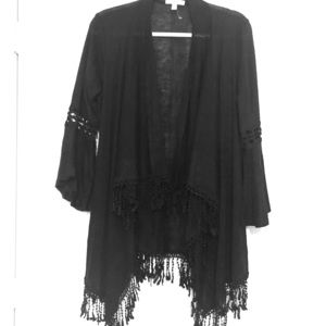 Black fringed Shaw with 3/4 length sleeves